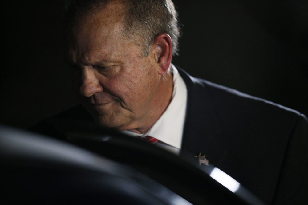 Former Alabama Chief Justice and U.S. Senate candidate Roy Moore gets in his car after he speaks at a revival, Tuesday, Nov. 14, 2017, in Jackson, Ala. (Brynn Anderson/AP)