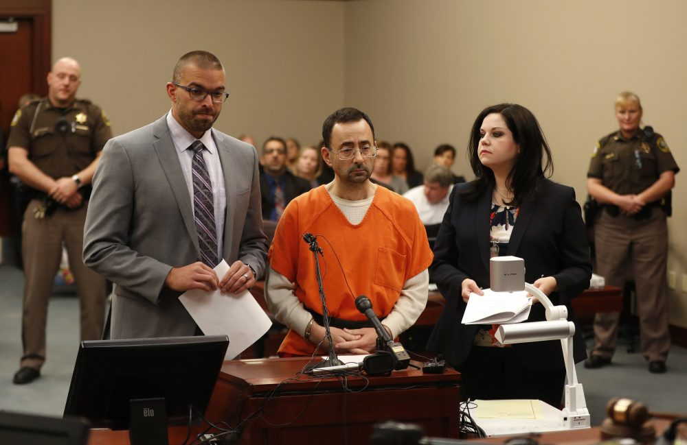 Dr. Larry Nassar, 54, appears in court for a plea hearing in Lansing, Mich., Wednesday, Nov. 22, 2017. Nasser, a sports doctor accused of molesting girls while working for USA Gymnastics and Michigan State University, pleaded guilty to multiple charges of sexual assault and will face at least 25 years in prison. (Paul Sancya/AP)