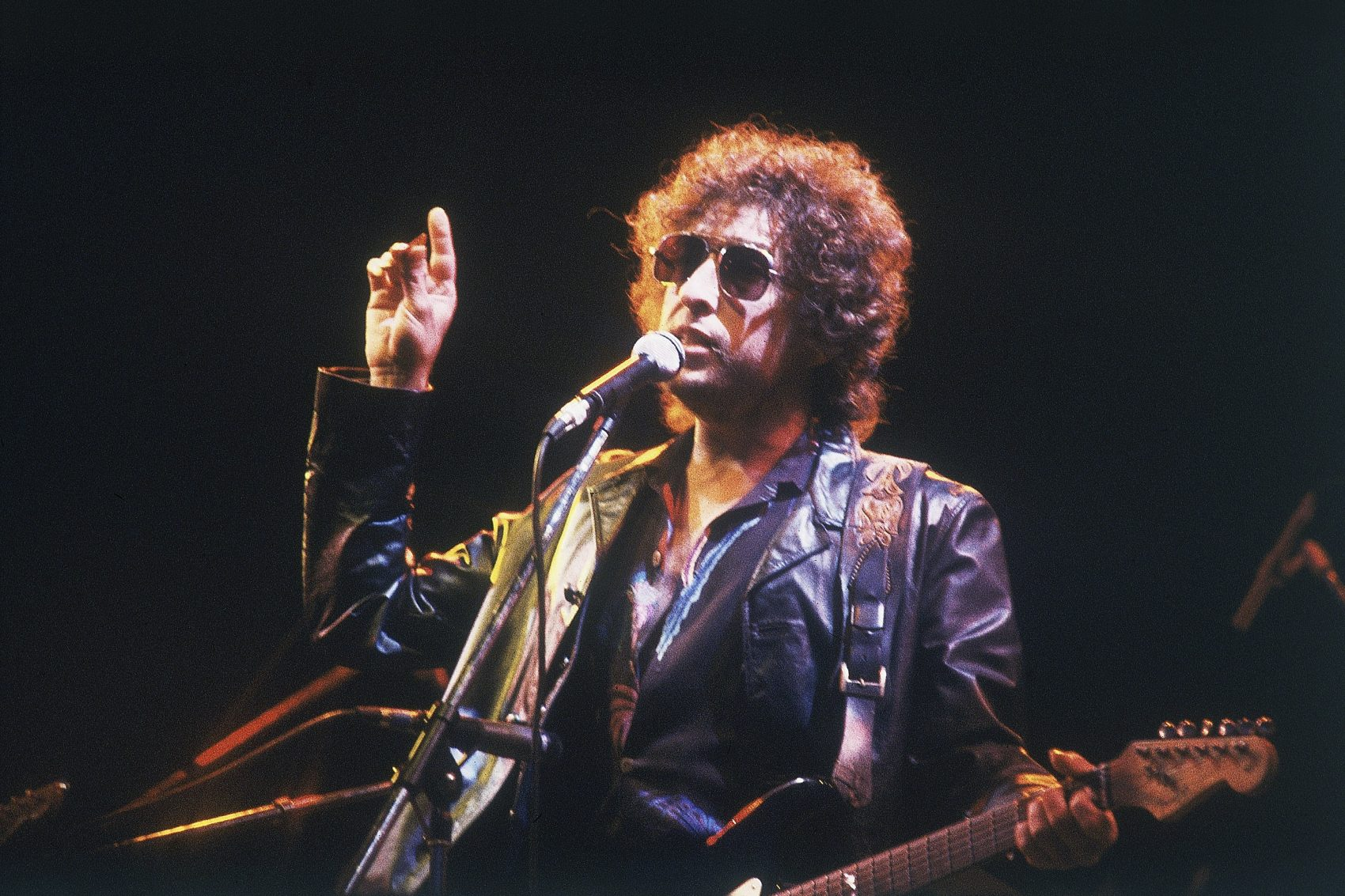 Bob Dylan performs at the Olympic Stadium in Colombes, France, before an estimated 40,000 fans, June 23, 1981. (AP)