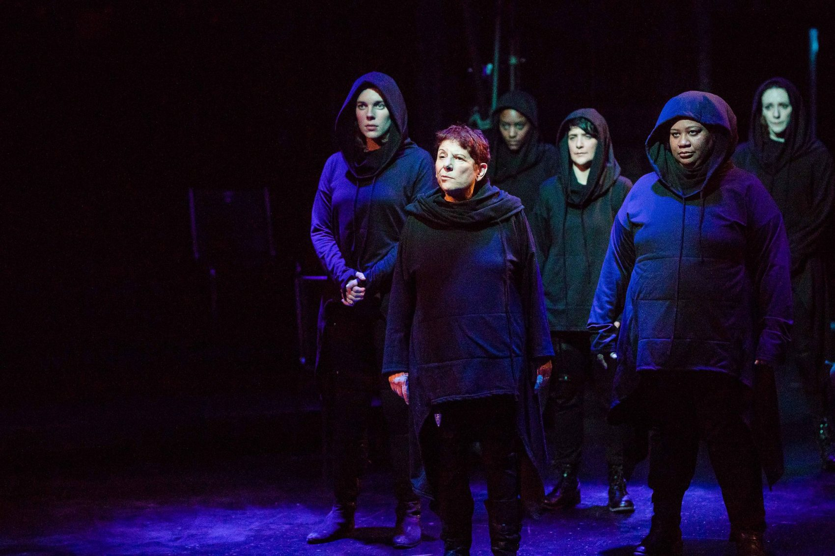 "Left to right, Charlotte Kinder, Bobbie Steinbach, Jade Guerra, Julee Antonellis, MaConnia Chesser and Marianna Bassham in ""Julius Caesar."" (Courtesy Maggie Hall)"