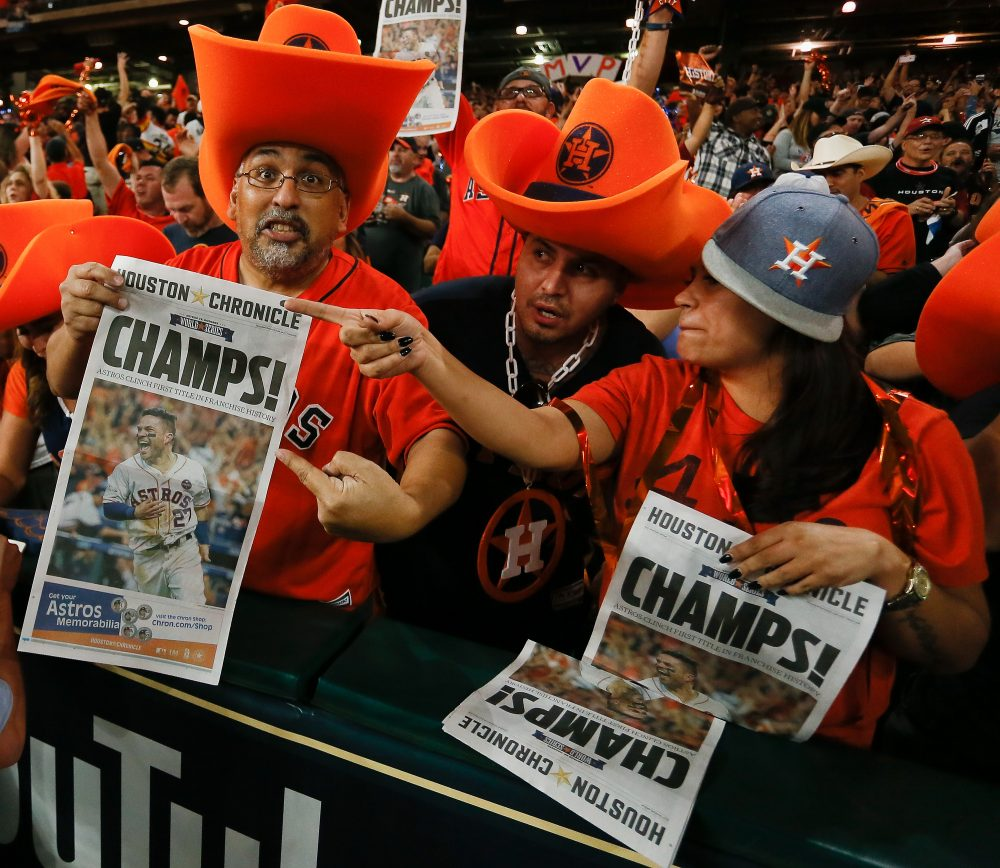 Houston fans celebrate at Minute Maid Park in Houston after the Astros defeated Los Angeles at Dodger Stadium in Game 7 of the World Series. (Bob Levey/Getty Images)
