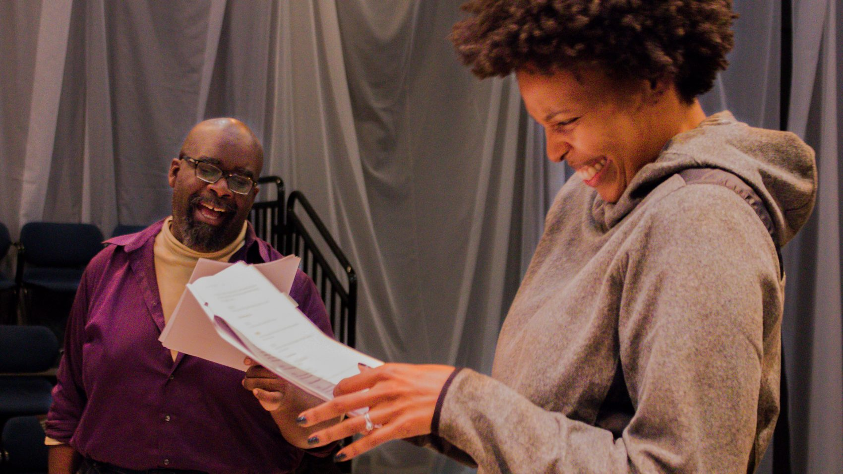 "Actors Cliff Odle and Miranda Adekoje practice for Front Porch Collective's staged reading of ""Black Ulysses."" (Courtesy Front Porch Arts Collective)"