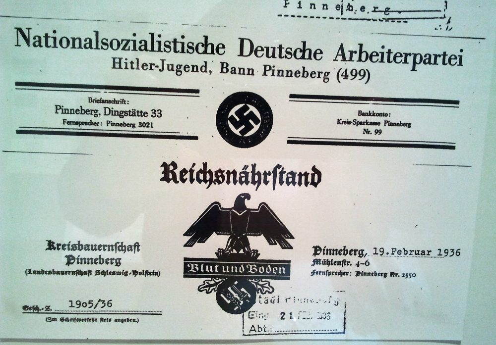 "Document reflecting the ""Blood and Land"" ideology from the Farmer Association of Pinneberg, where Julie's grandfather joined the Nazi Party in December 1931. (Courtesy of Julie Lindahl)"