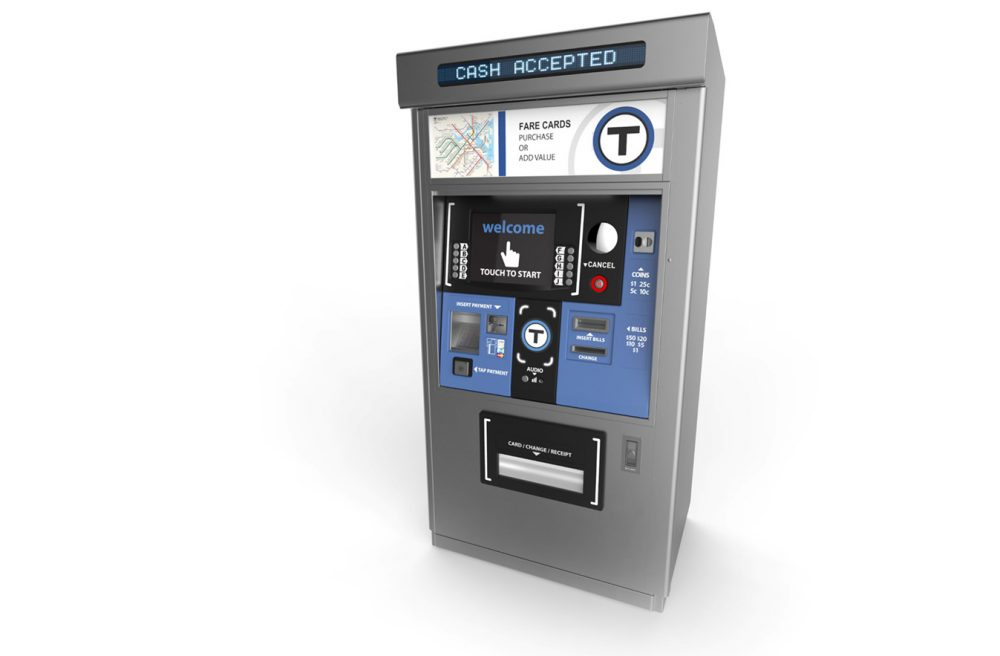 A rendering of a full-functionality fare vending machine, for the MBTA's proposed new fare collection system. (Courtesy MBTA)