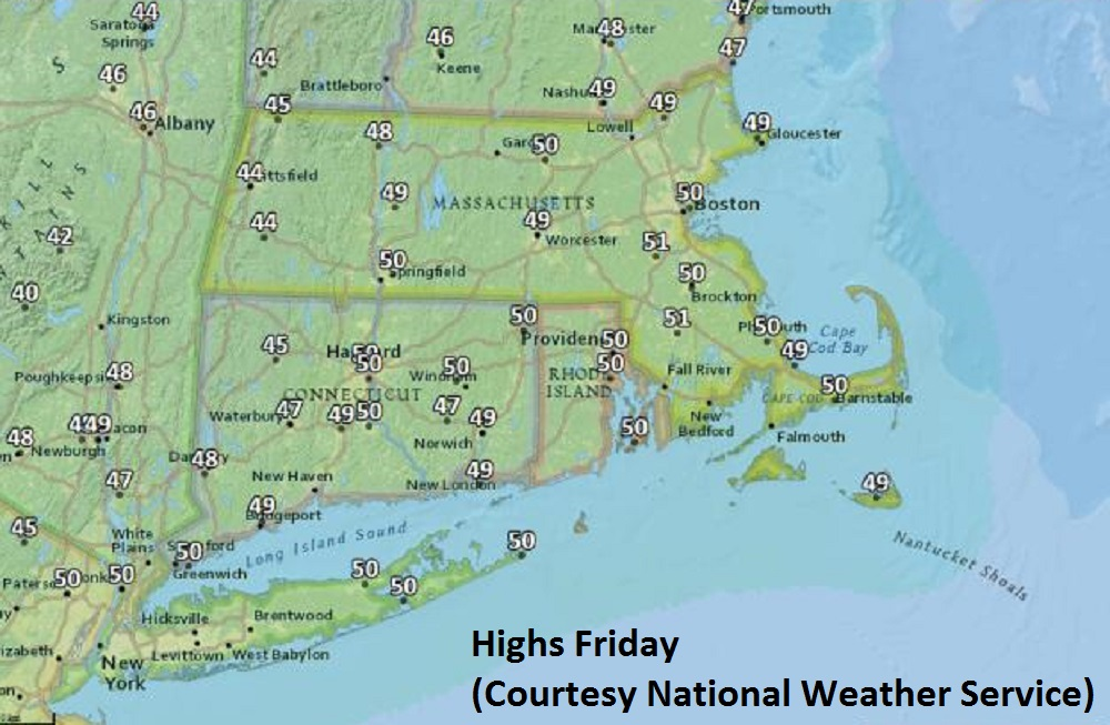 Highs Friday. (Courtesy National Weather Service)