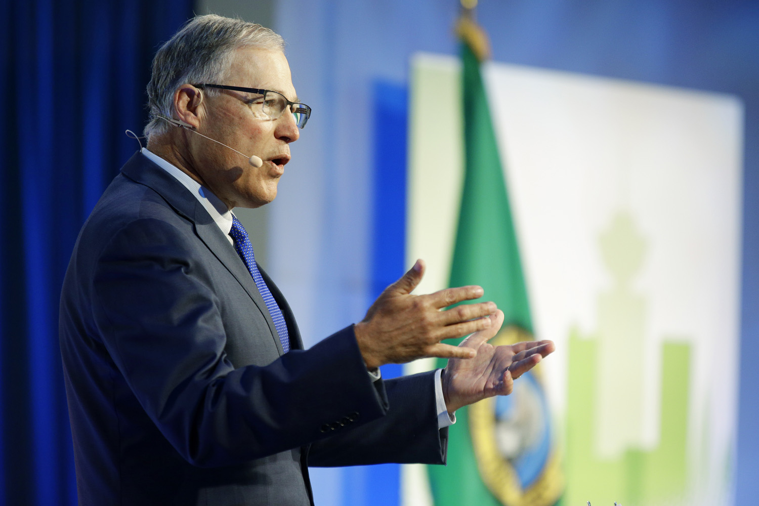 Washington Gov. Jay Inslee speaks Wednesday, Sept. 13, 2017, at the Cascadia Innovation Conference in Seattle. (Ted S. Warren/AP)