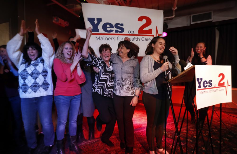 Supporters of Medicaid expansion celebrate their victory in Portland, Maine on Tuesday night. (Robert F. Bukaty/AP)