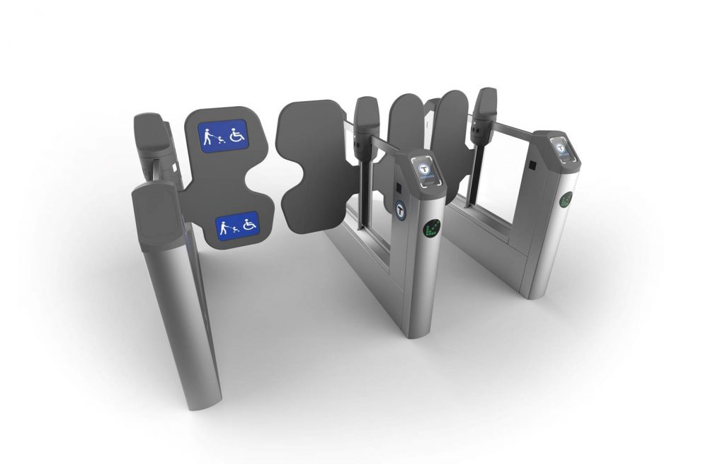 A rendering of how the fare gates would look under the MBTA's proposed new fare collection system. (Courtesy MBTA)