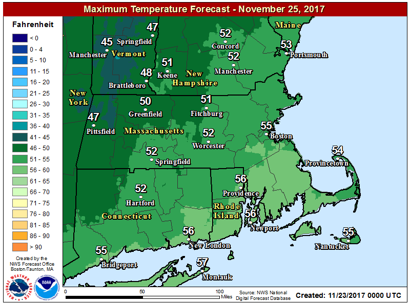 It will be quite mild on Saturday with highs in the 50s. (Courtesy NOAA)