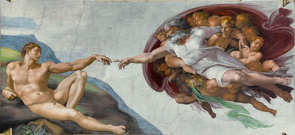 """""""The Creation of Adam"""" from the Sistine Chapel ceiling in the Vatican by Michelangelo Buonarroti, 1511-1512. (Wikimedia Commons/Public Domain)"""