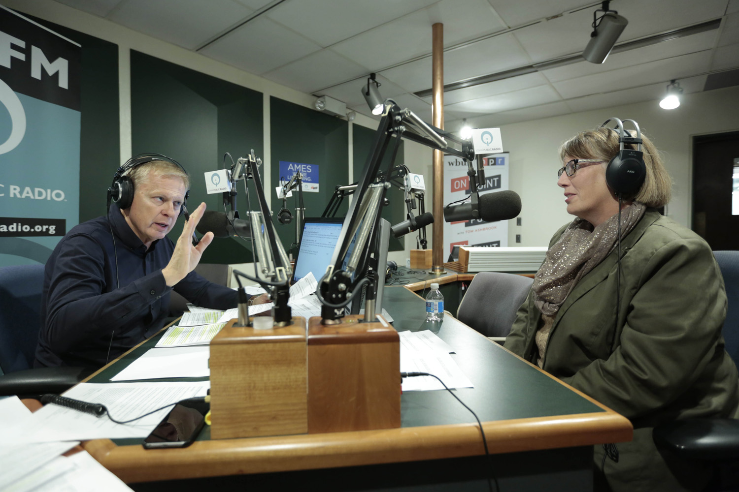 Tom Ashbrook broadcasts Friday morning, November 10, 2017, from Ames, Iowa on Iowa Public Radio. He is joined by Des Moines Register political columnist Kathy Obradovich. (Christopher Gannon/Iowa State University)
