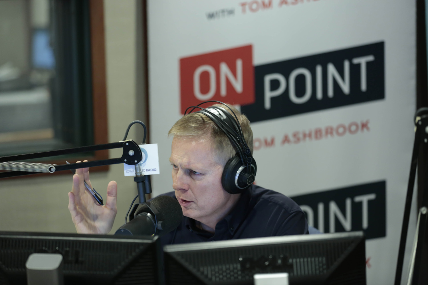 Tom Ashbrook broadcasts Friday morning, November 10, 2017, from Ames, Iowa on Iowa Public Radio. (Christopher Gannon/Iowa State University)