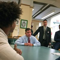 Boston Mayor Marty Walsh meets with students on the first day of school at Excel High School in South Boston. (Max Larkin/WBUR)