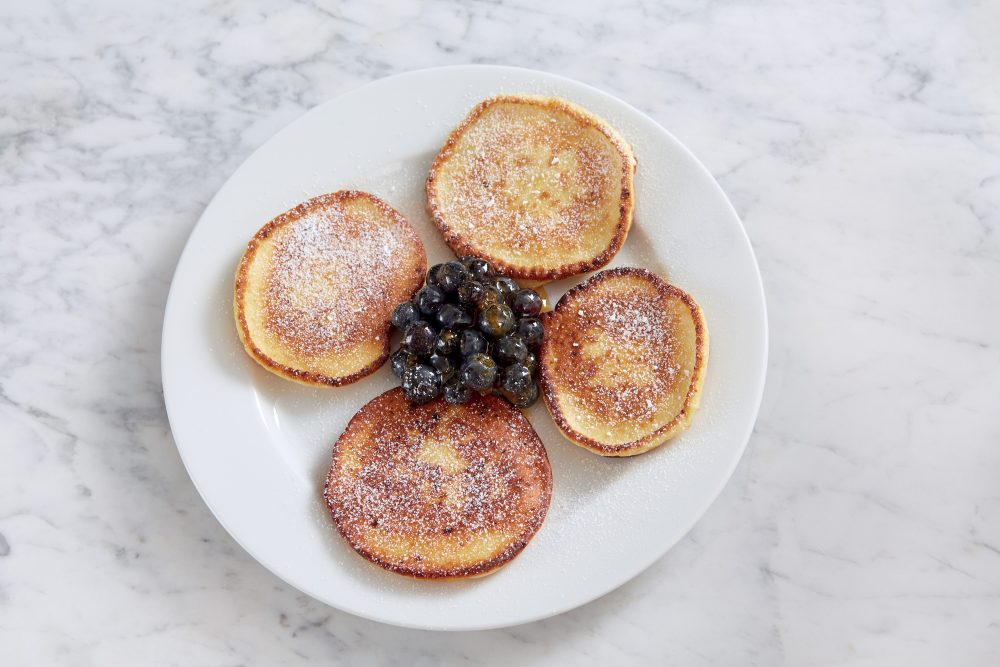 "Cottage cheese pancakes with blueberries from ""A Grandfather's Lessons: In the Kitchen with Shorey."" (Courtesy, Tom Hopkins)"