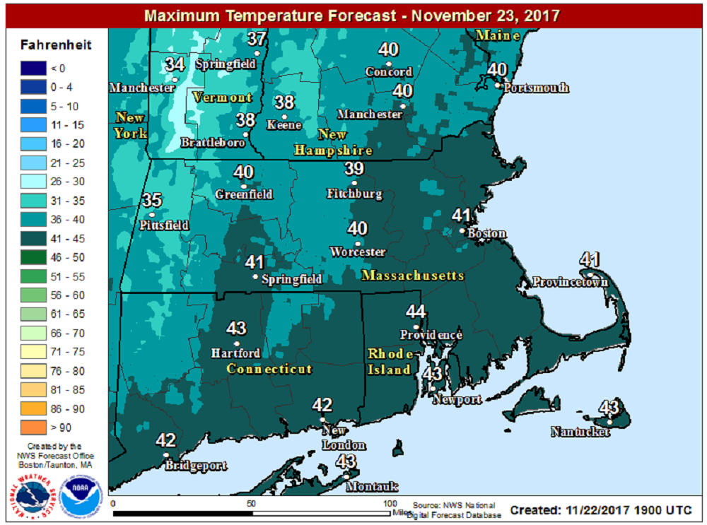 High Temperatures Thanksgiving will reach the lower 40s. (Courtesy NOAA)