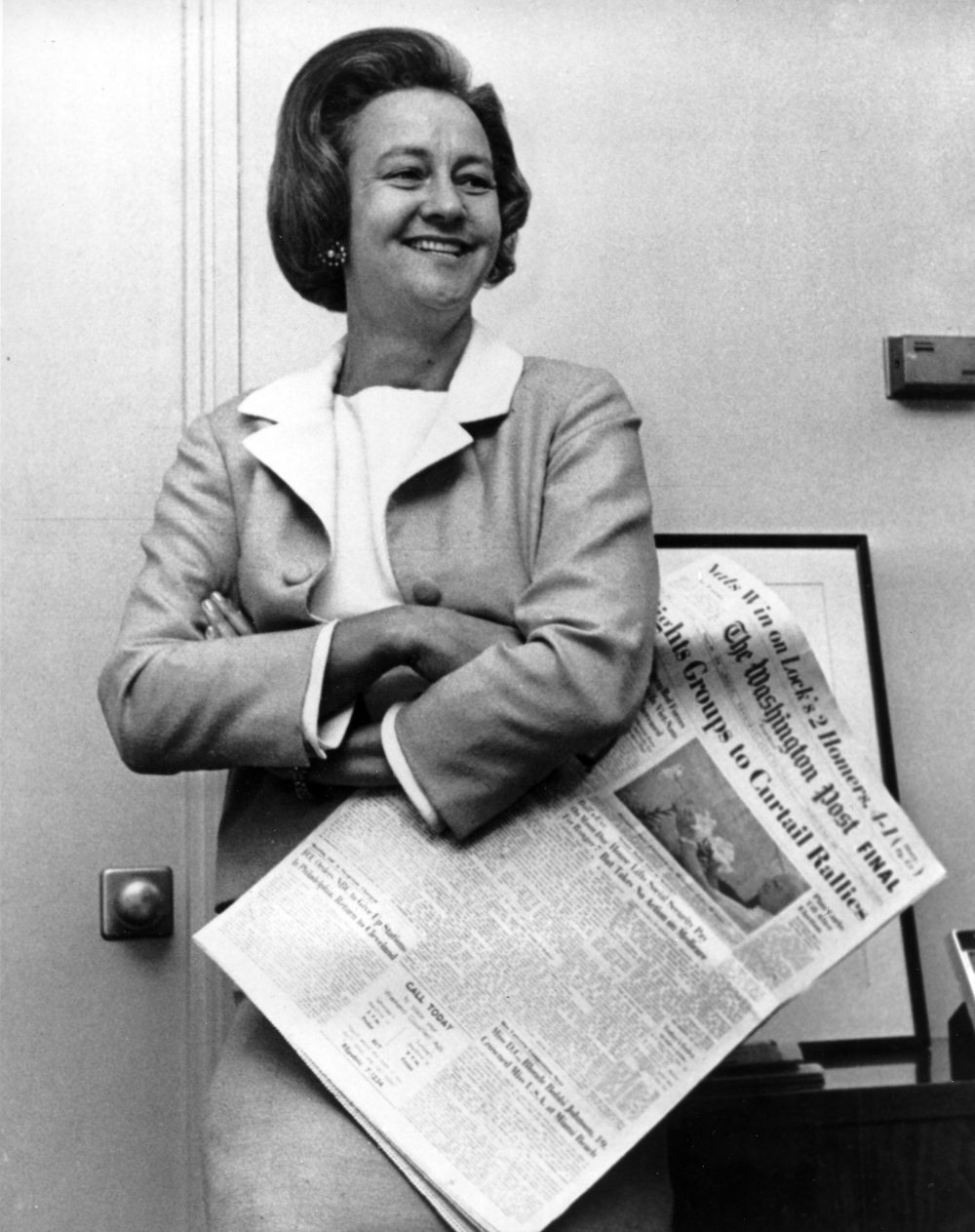 Katharine Meyer Graham, president of The Washington Post, poses in her office in Washington, D.C., on Aug. 3, 1964. (AP Photo)