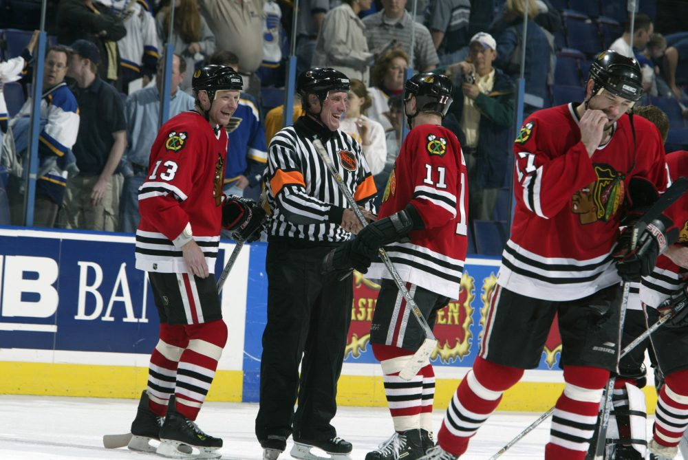 In 2003, Paul Stewart officiated his 1,000th career NHL game. (Elsa/Getty Images/NHLI)
