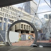 Geodesic domes under construction in City Hall Plaza, Boston, for HUBweek 2017. (Robin Lubbock/WBUR)