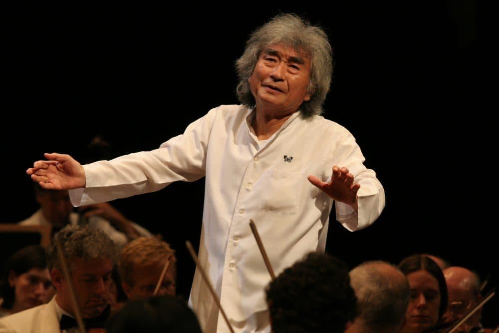 Seiji Ozawa conducts the Boston Symphony at Tanglewood in 2006. (Courtesy Hilary Scott/BSO)