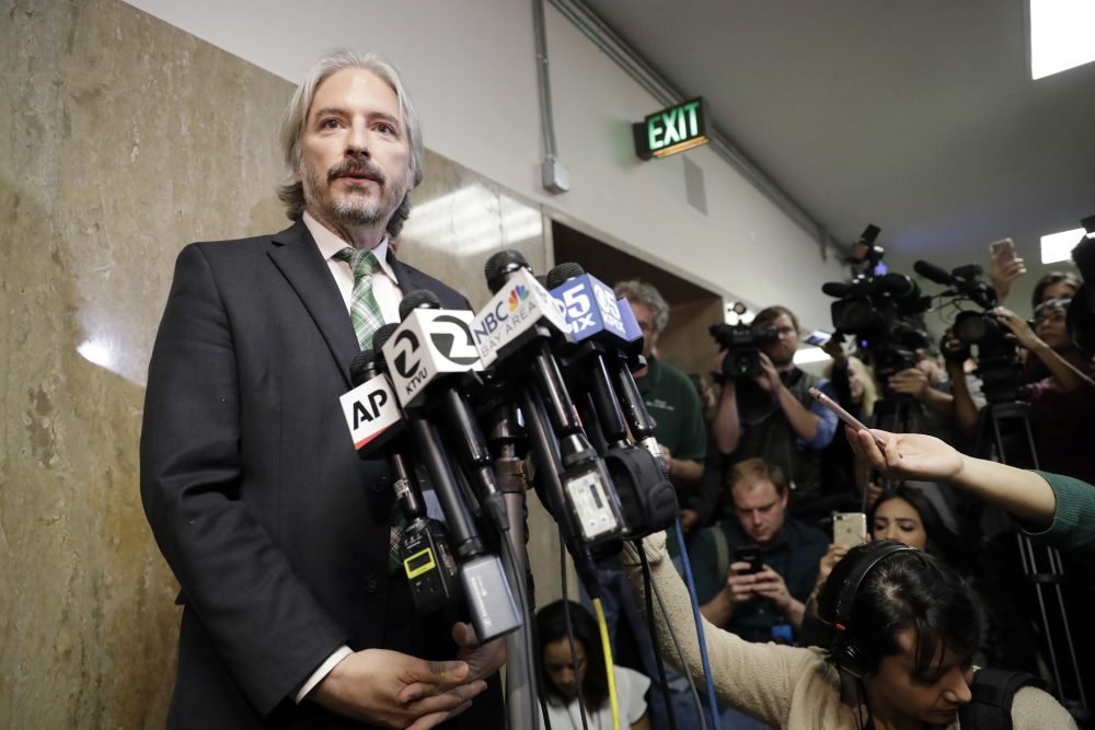 Matt Gonzalez, chief attorney of the San Francisco Public Defenders Office, fields questions after a verdict was reached in the trial of Jose Ines Garcia Zarate Thursday, Nov. 30, 2017, in San Francisco. (Marcio Jose Sanchez/AP)
