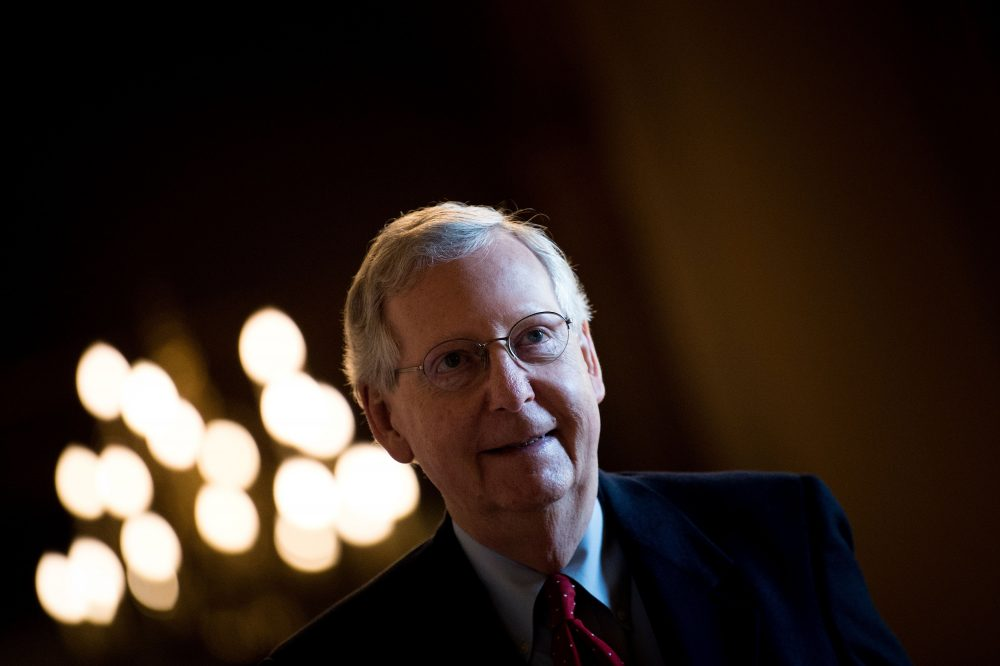 Senate Majority Leader Mitch McConnell (R-Ky.) walks to the Senate Floor on Capitol Hill Dec. 1, 2017 in Washington, D.C. (Brendan Smialowski/AFP/Getty Images)