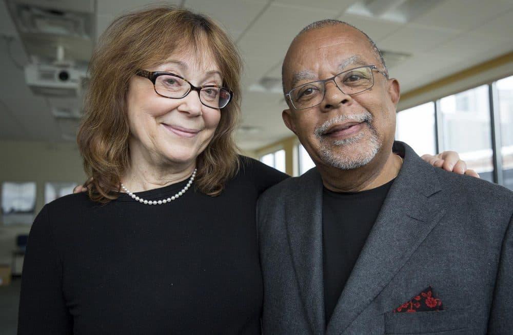 Henry Louis Gates Jr. and Maria Tatar at WBUR. (Robin Lubbock/WBUR)