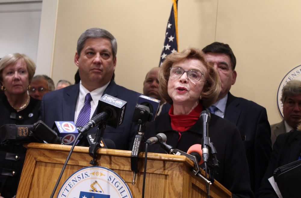 Senate Minority Leader Bruce Tarr spoke of more gas safety regulations to come from state legislature. Here, he and Majority Leader Harriette Chandler and talked to the press in 2017 after determining Chandler would be elected acting Senate president. (Sam Doran/SHNS)