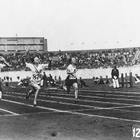 The 1928 Amsterdam Olympic Games were the first to include track and field events for women. Betty Robinson (second from left) took home a gold medal in the 100-meter. (Central Press/Hulton Archive/Getty Images)