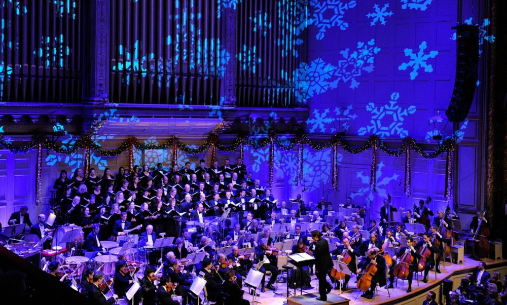 Keith Lockhart conducts the Holiday Pops show. (Stu Rosner/Boston Pops)