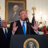 President Trump speaks alongside Vice President Mike Pence about the recognition of Jerusalem as the capital of Israel by the United States in the Diplomatic Reception Room at the White House in Washington, Dec. 6, 2017. (Saul Loeb/AFP/Getty Images)