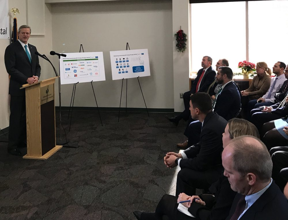 Gov. Charlie Baker announced the recipients of the state grants for energy storage projects in Mass. (Courtesy Massachusetts Clean Energy Center)