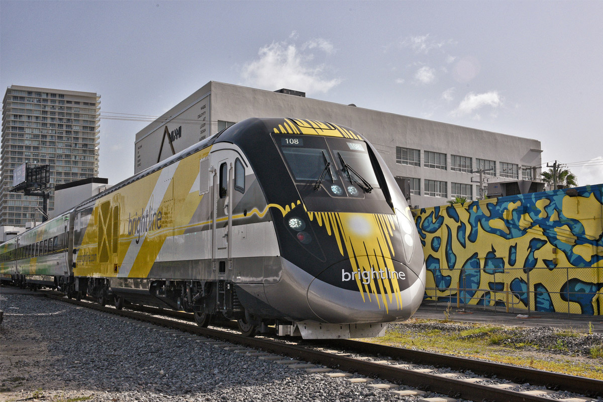 The Brightline rail service opened in Florida in January, with trains running between West Palm Beach and Fort Lauderdale. (Courtesy of Brightline)