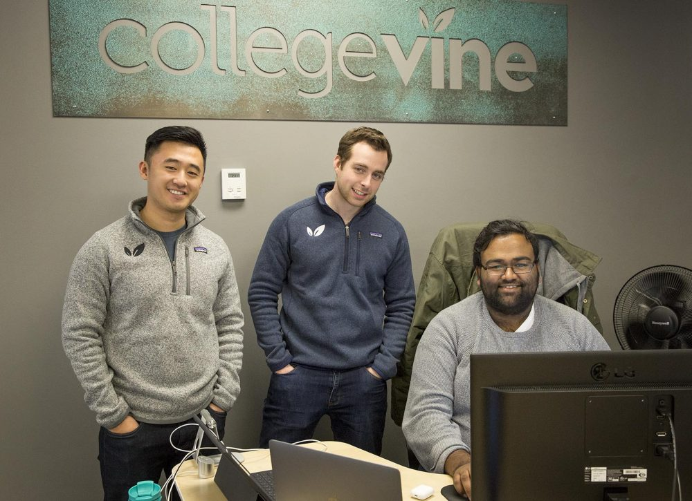 CollegeVine co-founders, from left, Johan Zhang, Zack Perkins and Vinay Bhaskara, at the company's offices in Cambridge. (Robin Lubbock/WBUR)
