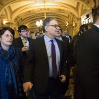 Sen. Al Franken, D-Minn., his wife Franni, arrive at the Senate to make a statement on charges of sexual misconduct, on Capitol Hill in Washington, Thursday, Dec. 7, 2017. (J. Scott Applewhite/AP)