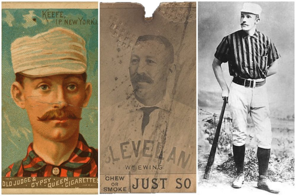From left to right, Tim Keefe, Buck Ewing and Monte Ward, three pro baseball players that left the National League for the Players' League in 1890. (Public Domain)