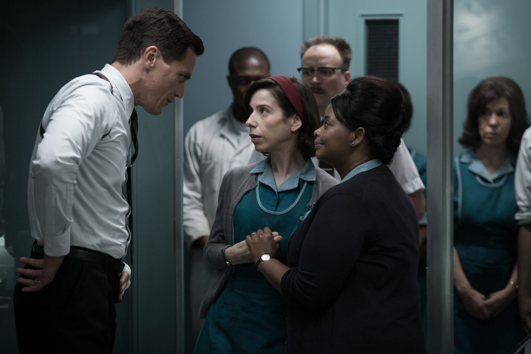 "Michael Shannon, Sally Hawkins and Octavia Spencer in ""The Shape of Water."" (Courtesy Kerry Hayes/Twentieth Century Fox)"