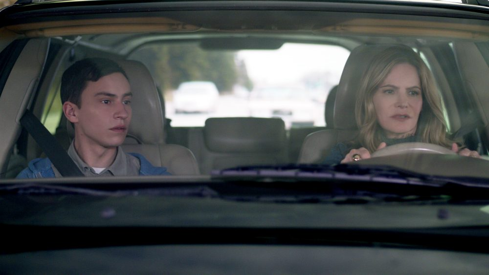 "Keir Gilchrist (left) and Jennifer Jason Leigh in a still from the Netflix series ""Atypical."" (Courtesy Netflix)"