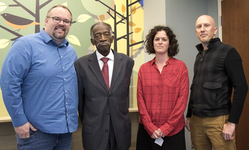 Left to right: Jeff Vreeland, Joe Dickson, Mieke McBride and David Griner at the Vestavia Hills Library in Vestavia Hills, Ala. (Jackson Mitchell/Here & Now)