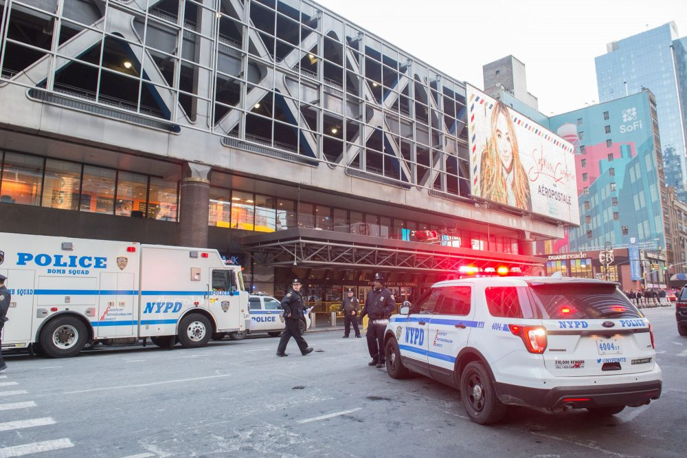 Police and other first responders respond to a reported explosion at the Port Authority Bus Terminal on Dec. 11, 2017 in New York. (Bryan R. Smith/AFP/Getty Images)