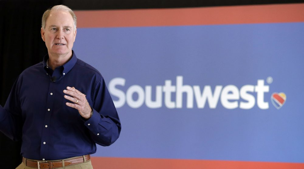 Southwest Airlines CEO Gary Kelly speaks during a preview of the new international concourse at Houston Hobby Airport in Houston in 2015. (Pat Sullivan/AP)