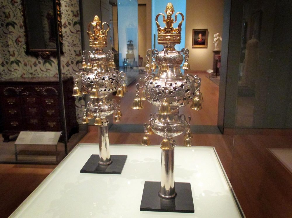 The Torah finials at the Museum of Fine Arts Boston. (Penny Schwartz for WBUR)
