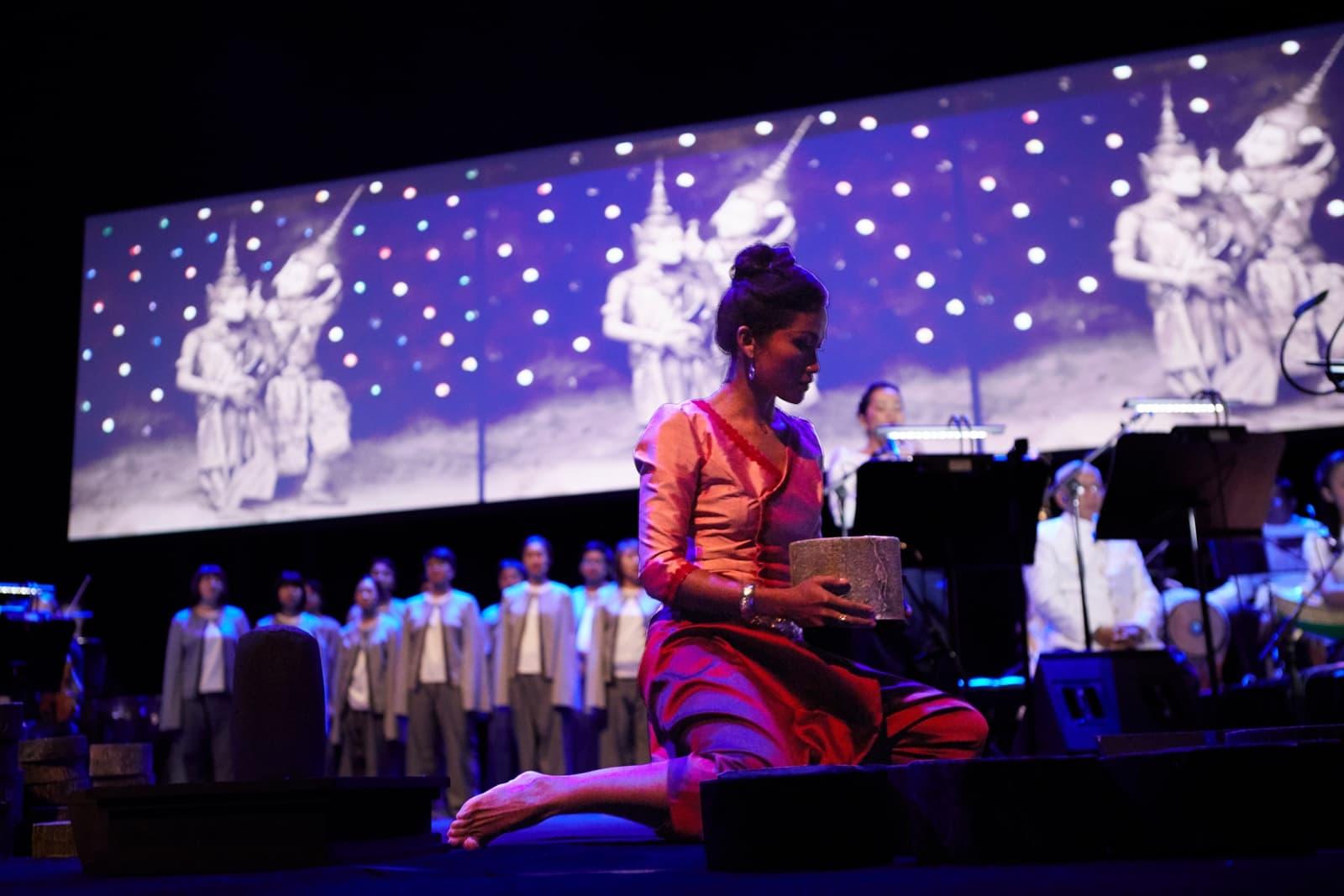 "The multimedia performance of ""Bangsokol: A Requiem for Cambodia."" (Courtesy Zan Wimberly/ArtsEmerson)"