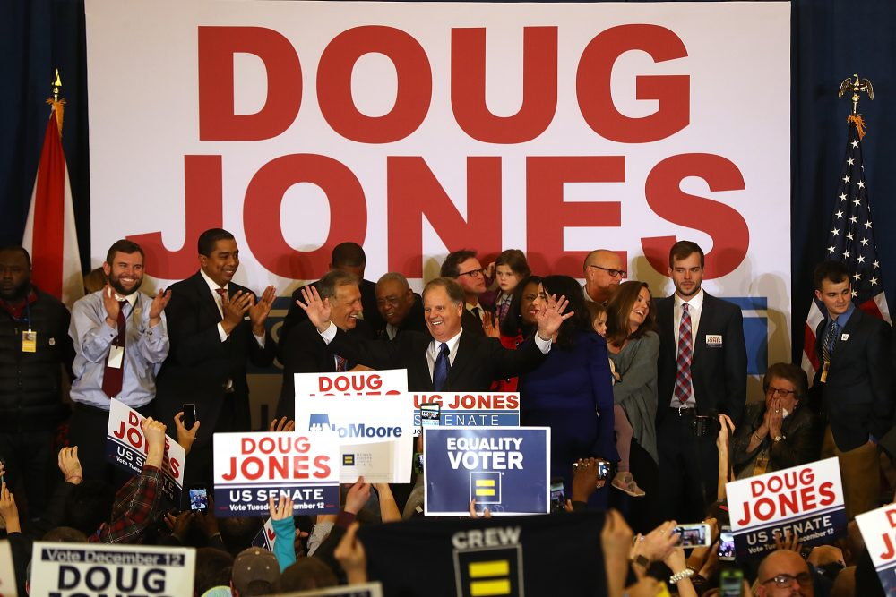 Democratic U.S. Sen.-elect Doug Jones greets supporters during his election night gathering the Sheraton Hotel on Dec. 12, 2017 in Birmingham, Ala. Doug Jones defeated Republican candidate Roy Moore to claim Alabama's U.S. Senate seat that was vacated by Attorney General Jeff Sessions. (Justin Sullivan/Getty Images)
