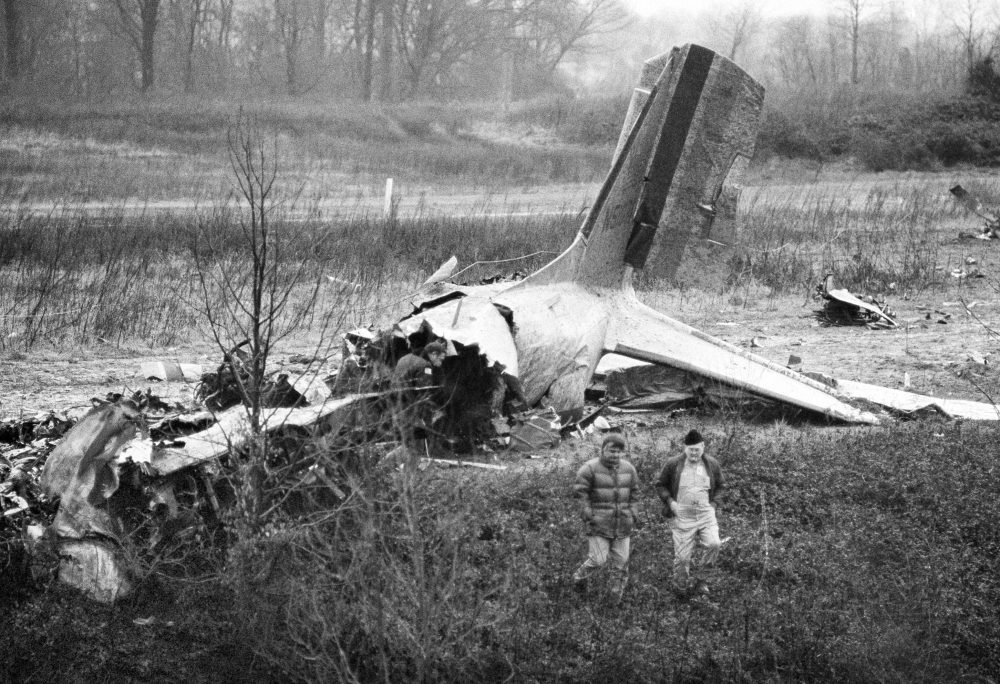 Wreckage of a DC-3 which crashed on takeoff from Dress Regional Airport in Evansville, Ind., lies on top of a ridge adjoining railroad tracks, Dec. 14, 1977. Twenty-nine people died in the crash, including the University of Evansville basketball team. (AP Photo)