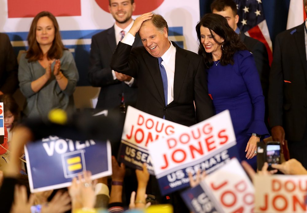 Democratic U.S. Sen.-elect Doug Jones greets supporters during his election-night gathering at the Sheraton Hotel on Dec. 12, 2017 in Birmingham, Ala. (Justin Sullivan/Getty Images)