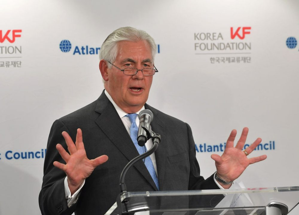 Secretary of State Rex Tillerson speaks during a forum on U.S.-South Korea relations at the Atlantic Council in Washington on Dec. 12, 2017. (Mandel Ngan/AFP/Getty Images)