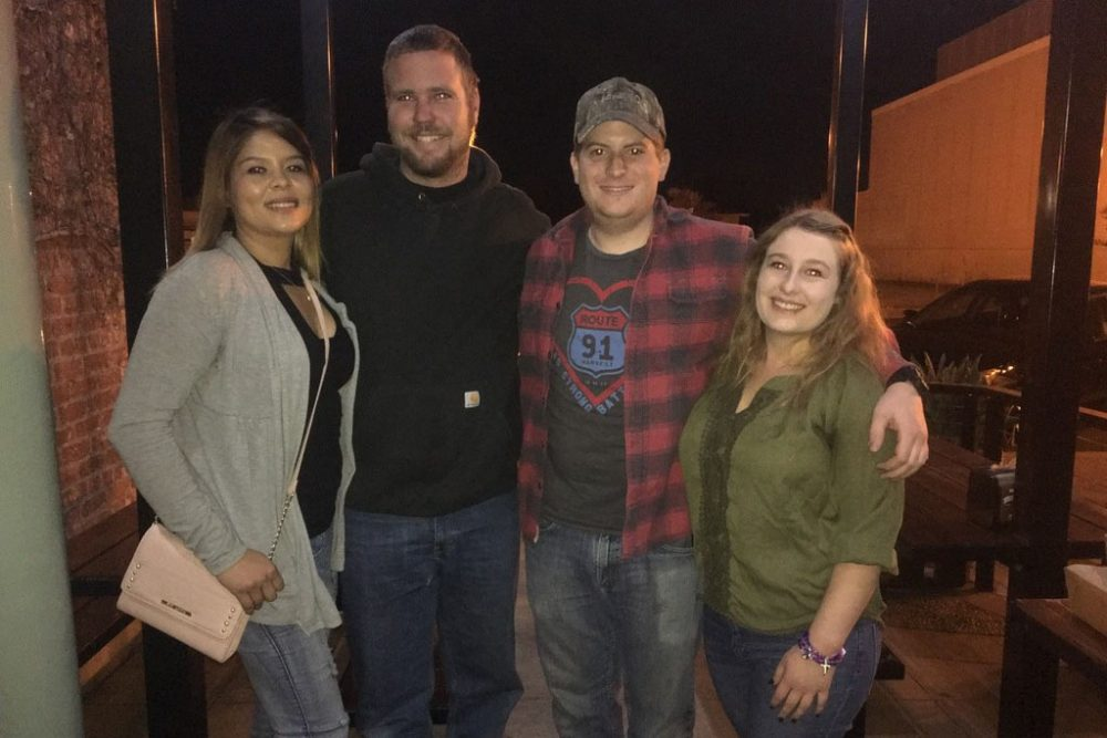David Holley (second from left) and his girlfriend, Stephanie Gonzalez-Nieves (left), were among those shot on Oct. 1 during the Route 91 Harvest Country Music Festival in Las Vegas. They recently reconnected with the couple who helped get them to the hospital that night. (Courtesy David Holley)