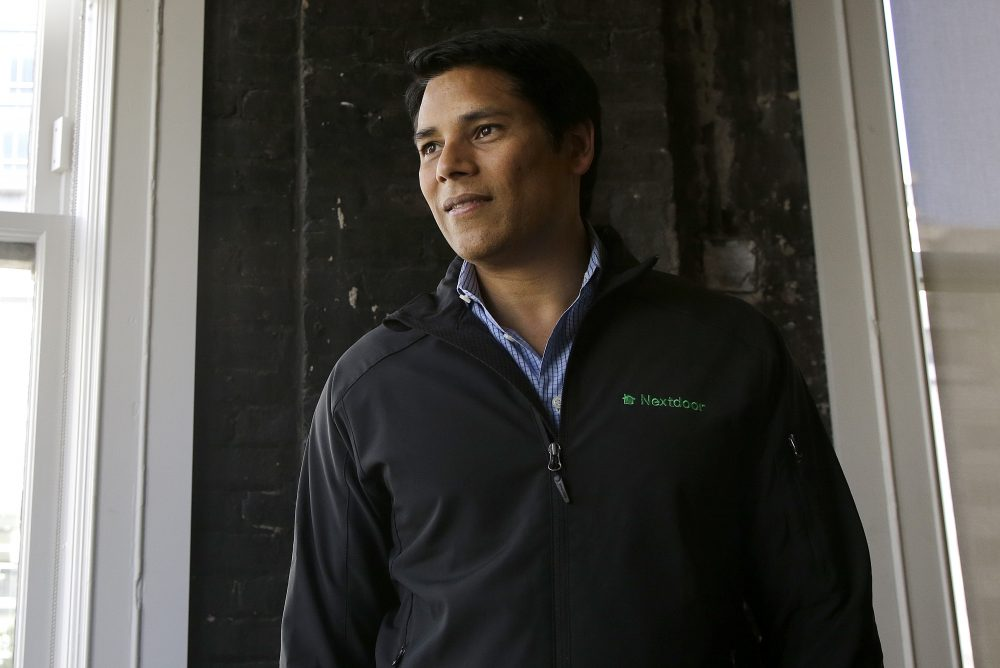 Nextdoor CEO Nirav Tolia poses for photos at his office in San Francisco, Wednesday, May 11, 2016. (Jeff Chiu/AP)
