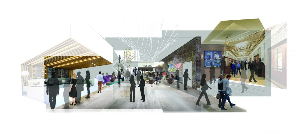 A rendering of the first floor lobby of the planned Huntington renovation. (Courtesy Bruner/Cott & Associates)