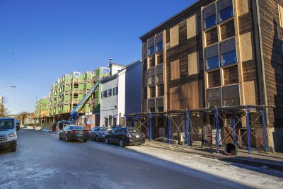 Housing construction along Liverpool Street in East Boston. (Jesse Costa/WBUR)